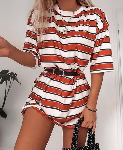 dress t-shirt stripes orange white t-shirt t-shirt dress stripes summer