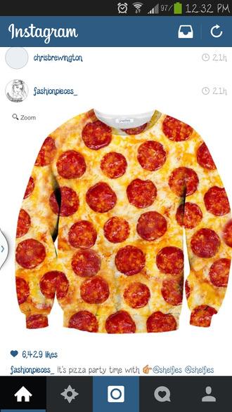 sweater pizza shirt sweatshirt cool cute funny sweater pizza tie dye dress
