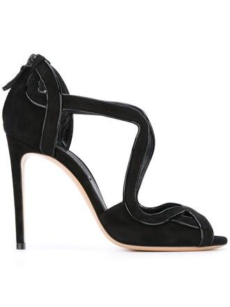 zip women sandals leather suede black shoes