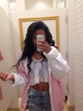 jacket,pink,white,windbreaker,top,fleece jackets