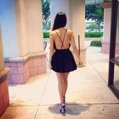dress,black dress,open backed dress,open back,short dress,little black dress,open back dresses,high heels