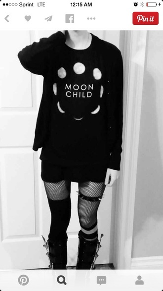 sweater goth nu goth gothic sweater moon leggings jewels shoes shirt grunge black black t-shirt moon shirt moon cycle quote on it grunge t-shirt grunge top boot combat boots t-shirt blouse black moon child top child black shirt top pastel goth cute wiccan sky cardigan gothic hipster dark boots