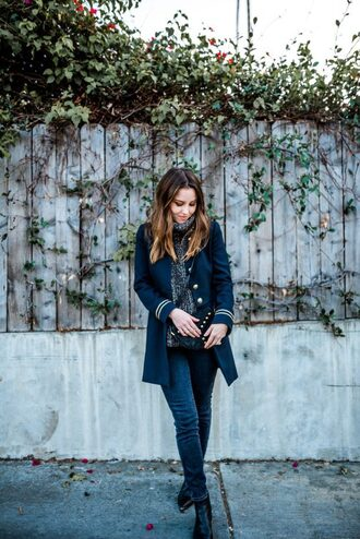 becauseimaddicted blogger sweater coat jeans shoes bag turtleneck sweater blue coat winter outfits ankle boots