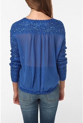 Silence & noise sequined sheer back pullover