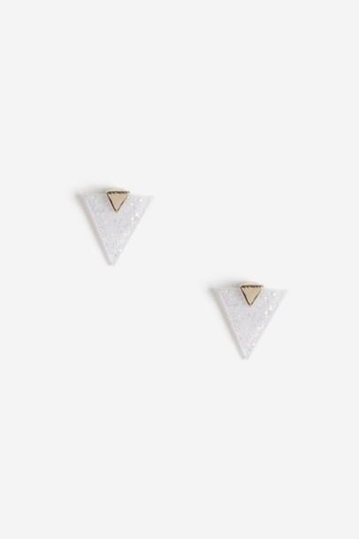 Topshop triangle earrings stud earrings white jewels