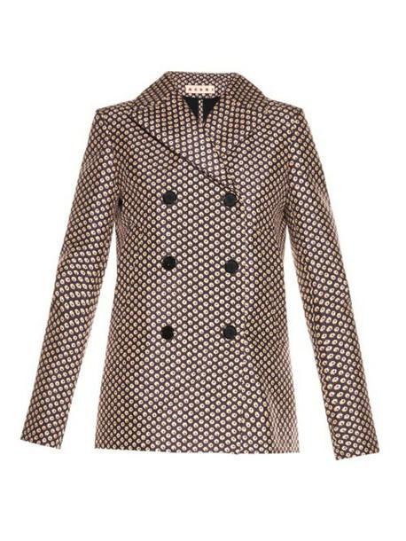 MARNI coat pea coat print brown