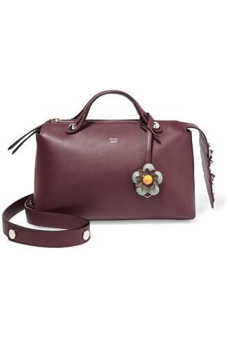 embellished bag shoulder bag floral leather burgundy