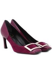 suede pumps,pumps,suede,purple,shoes