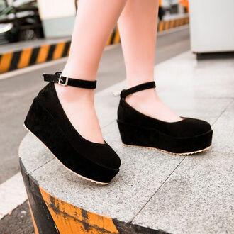 shoes black wedges sandals cute velvet dolly