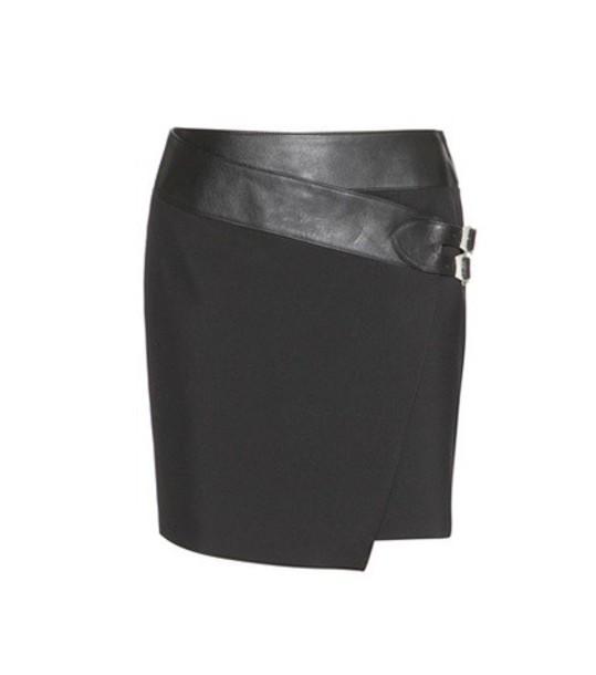 Saint Laurent skirt leather skirt leather wool black