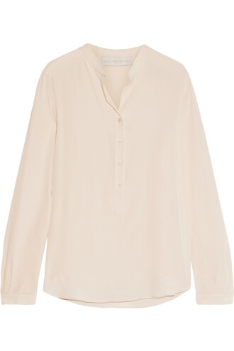 blouse silk cream top