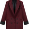 Wine red lapel long sleeve pockets blazer - sheinside.com