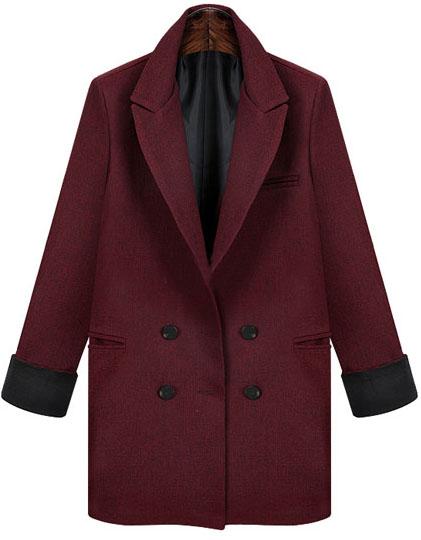 Wine red lapel long sleeve pockets blazer