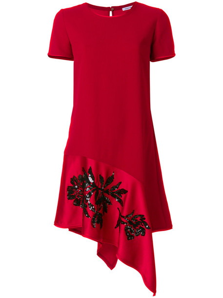 P.A.R.O.S.H. dress shirt dress t-shirt dress women embellished draped red