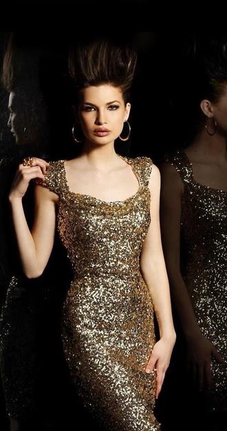 dress gold dress long dress mermaid prom dress