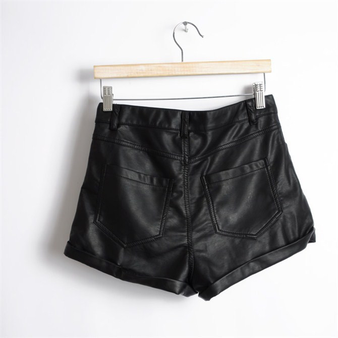 SH26 2013 New Celebrity Style Vintage Cuffed High Waisted Zipper Black PU Leather Women's Shorts Pant Plus Size Free Shipping on Aliexpress.com