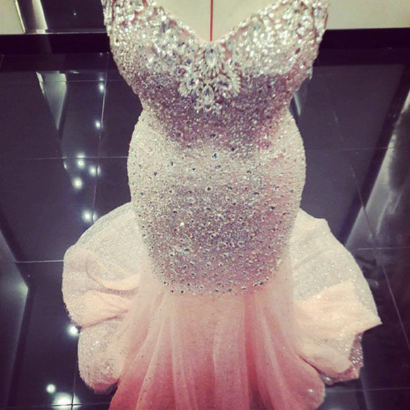 embellished rhinestones long mermaid dress beaded mermaid prom dresses pink dress
