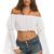 White Designer Long Sleeve Crop Top