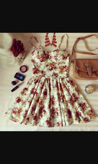 dress purse floral dress necklace braclets brown