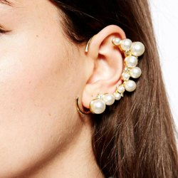 Chic faux pearl embellished ear cuff for women (one piece) (as the picture)