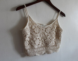 tank top white tank top shirt crop tops crochet top strapless crochet lace white knit boho midriff singlet cute summer