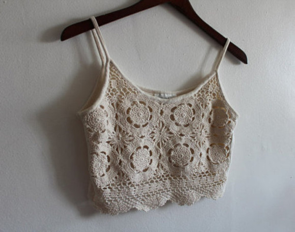 tank top lace summer singlet midriff cute white tank top shirt crop tops crochet top strapless crochet white croptop knit boho tanktop