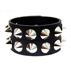 Wide silver spike studs black leather cuff bracelet