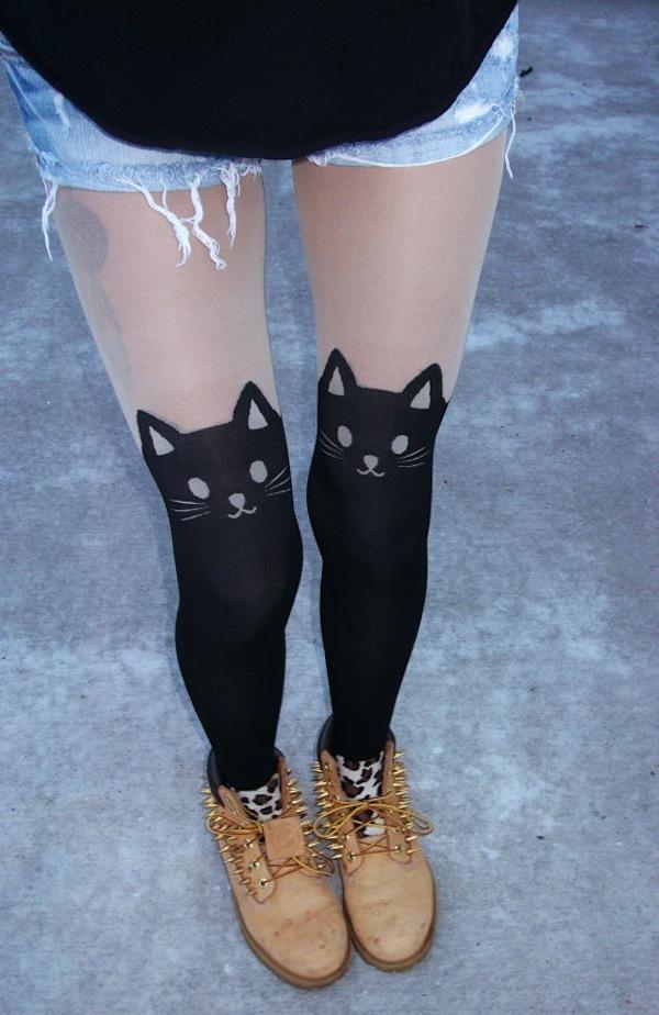 Printed thigh high stockings