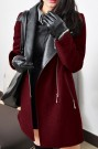 ROMWE | Romwe Panel Faux Leather Claret-red Woolen Coat, The Latest Street Fashion