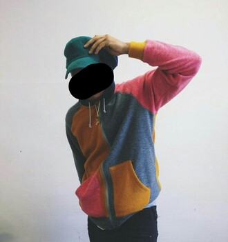 sweater pink yellow navy hoodie sweatshirt zip up
