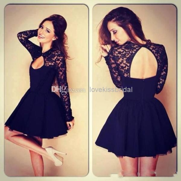 Cheap Short Homecoming Dresses - Discount Cheap Black Lace Short Cocktail Dresses Key Hole Online with $101.58/Piece | DHgate