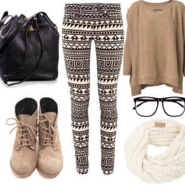 jeans tribal pattern black white aztec black and white shorts shoes bag sweater scarf beautymanifesto