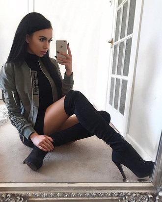 shoes black boots over the knee boots boots