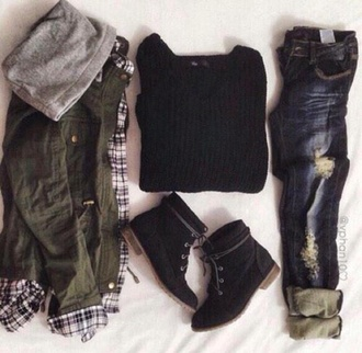 jacket army green jacket flannel shirt sweater jeans shoes