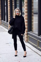 my style pill,blogger,sunglasses,sweater,jeans,shoes,bag,make-up,black sweater,fall outfits,black pants,all black everything,pumps