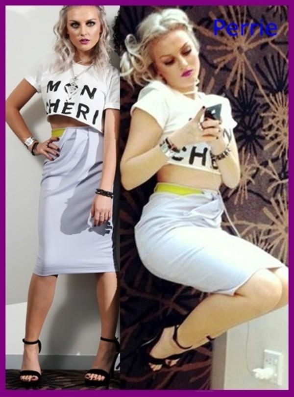 skirt light blue black heels blonde hair crop tops white crop tops high waisted skirt yellow british