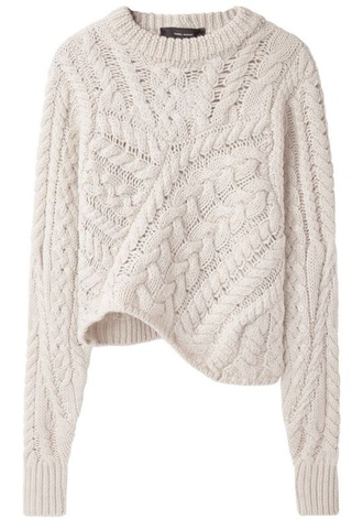 off-white cream sweater baggy shirt cable knit comfy cozy sweater asymmetrical crewneck