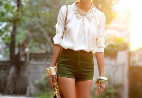 blouse 1 blouse 1 green shorts fashion blouse white clothes shorts exact same one