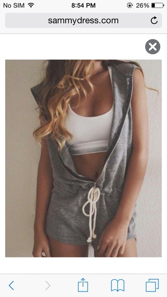 romper romper shorts grey hoodie hooded zip zip-up sweats sleeveless style fashion girly girl girly wishlist summer outfits summer cute rompers cute cute outfits short jumpsuit/rompers dope wishlist long hair crop tops crop cropped white crop tops white white top outfit outfit idea tumblr outfit drawstring top cute top pretty comfy comfy and cute cute  outfits trendy
