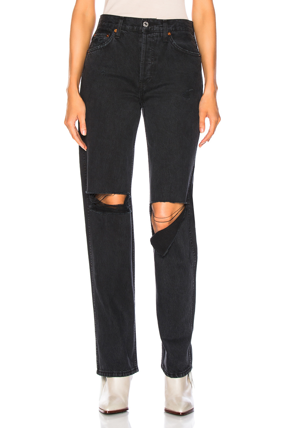 RE/DONE ORIGINALS High Rise Loose in Washed Black | FWRD