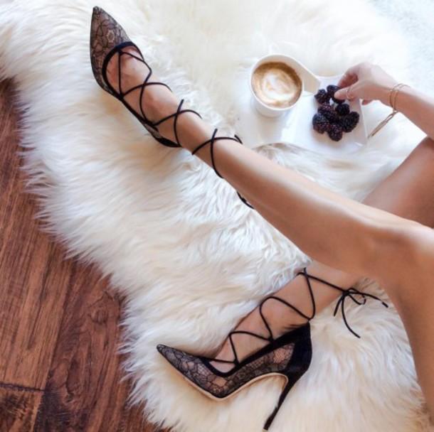 Shoes Tumbler Shoes Black Heels Lace Heels Tumblr Tumblr Clothes Lace Up Heels High Heels