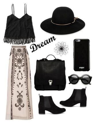 skirt iphone hat mini bag dream lace fringe hem tank boho chic boho maxi skirt black chelsea boots black sunglasses