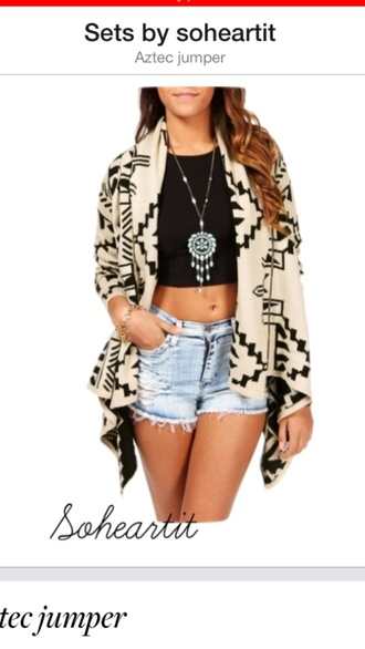 sweater black jewels and aztec jumper coat ethnic aztec sweater short shorts crop tops ripped jeans waterfall coat waterfall jacket necklace dreamcatcher dreamcatcher necklace fantasy jewel ethnic print aztec hoodie