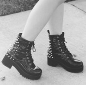 shoes,boots,black,patent shoes,grunge,soft grunge,spikes,combat,combat boots,emo,goth,hipster