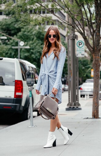 dress tumblr blue dress shirt dress long sleeves long sleeve dress boots white boots ankle boots bag grey bag sunglasses