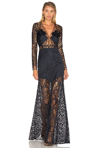 gown long lace navy dress