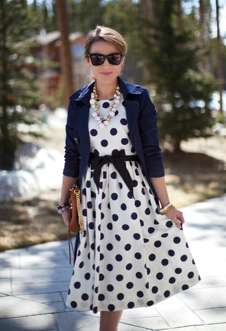 dress midi dress polka dots vintage classy classy dress blazer blue white wayfarer necklace cute bows summer dress retro sleeveless sleeveless dress jewels pinup dress pin up sexy