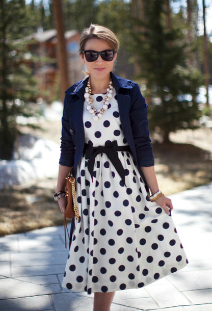 28fdca1b58f dress midi dress polka dots vintage classy classy dress blazer blue white  wayfarer necklace cute bows