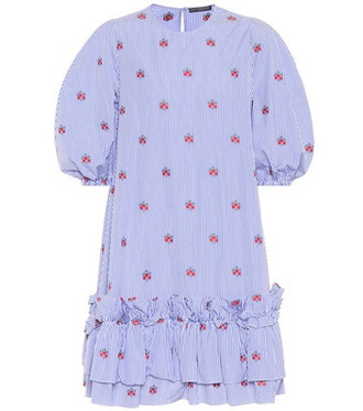 embroidered cotton blue dress