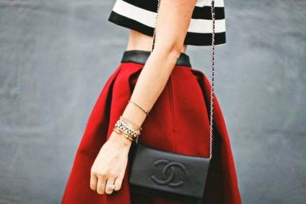 bag black chanel purse skirt shirt t-shirt red striped top black and white